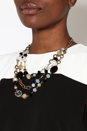 Rings & Things Black Gold Beaded Necklace - Back cropped