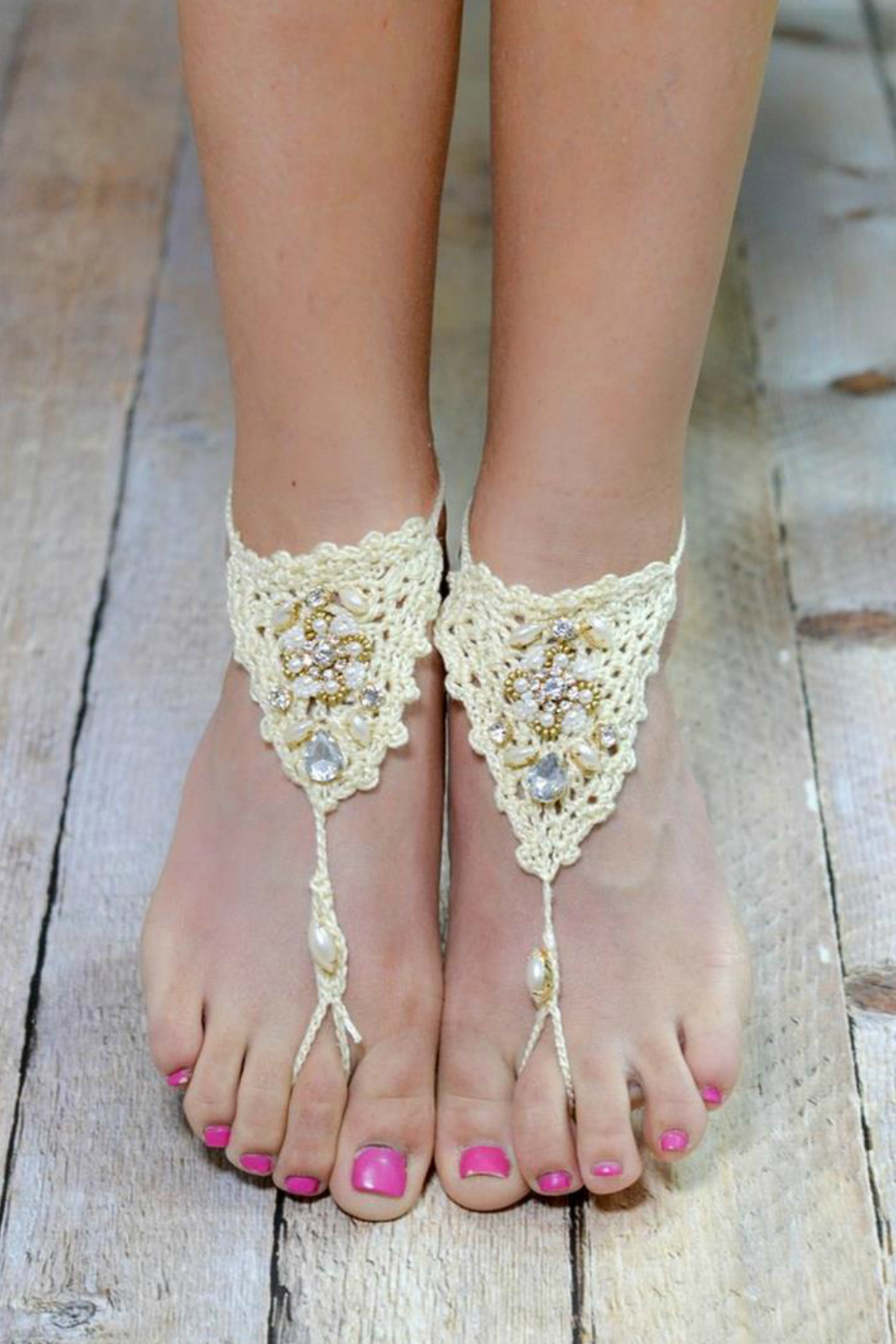 Rings & Things Crochet Barefoot Sandals - Back Cropped Image