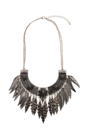 Rings & Things Silver Leaf Necklace - Front cropped