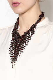Rings & Things Wine Beaded Necklace - Back cropped