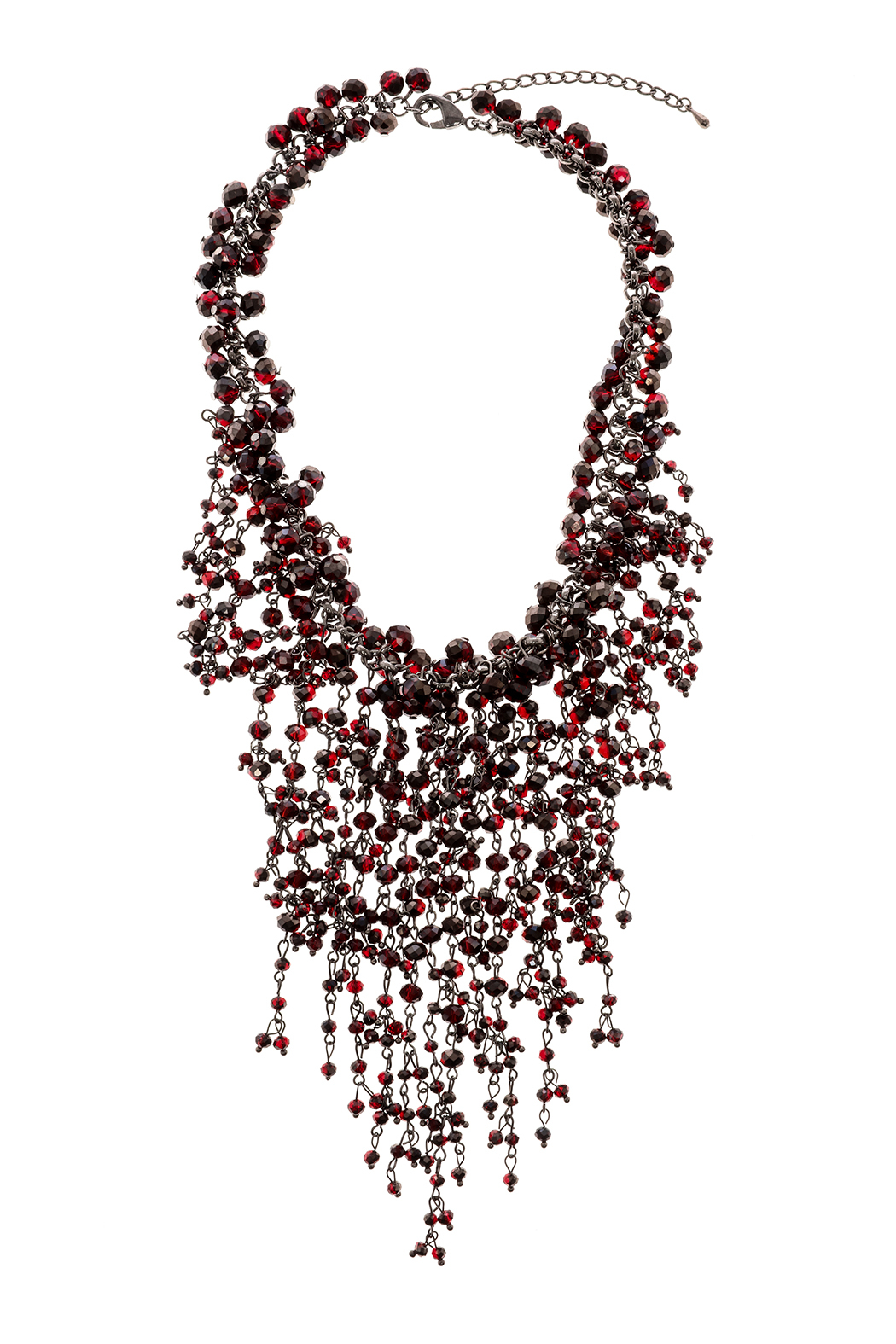 Rings & Things Wine Beaded Necklace - Front Cropped Image