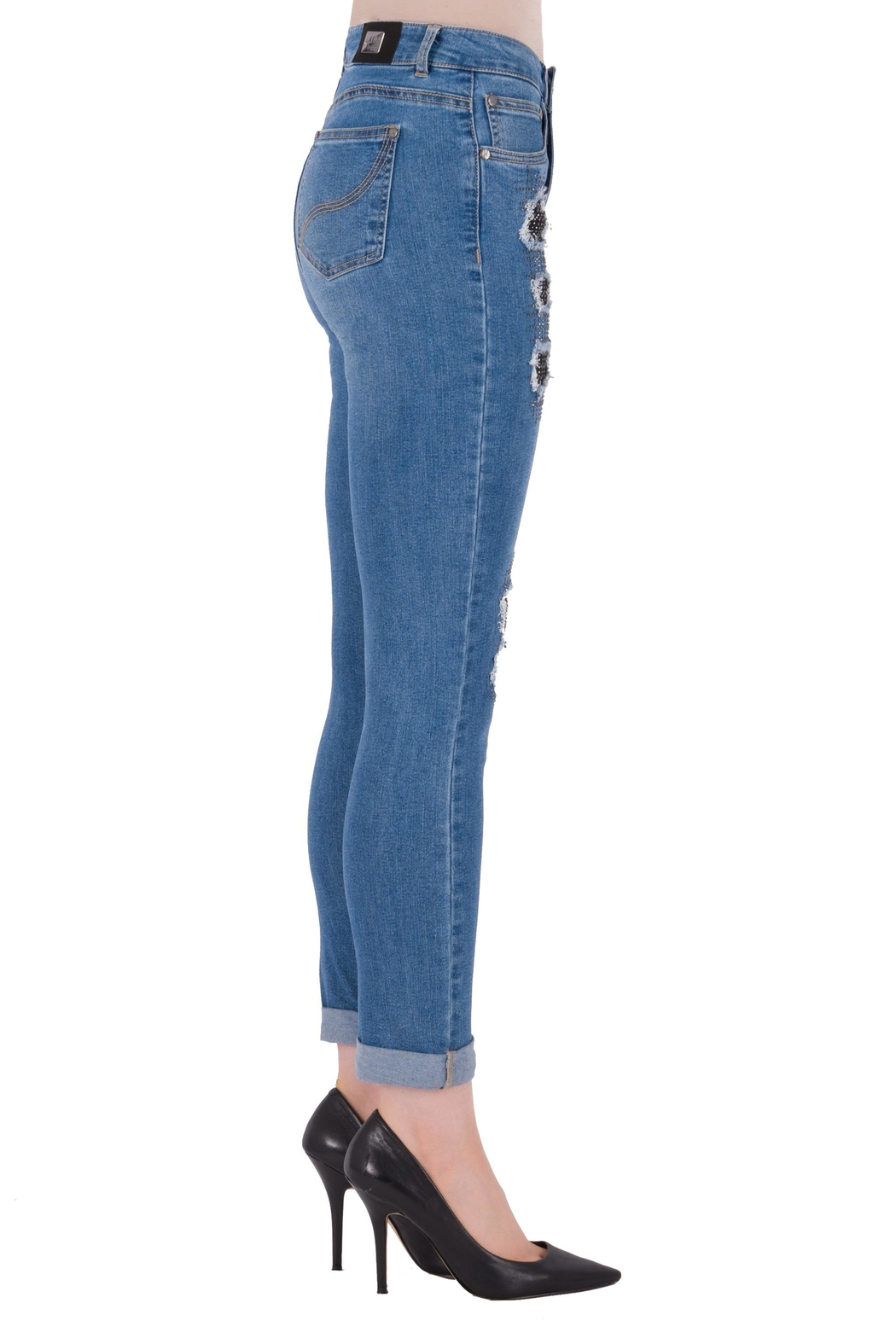 Joseph Ribkoff Rip Accent Jeans - Front Full Image