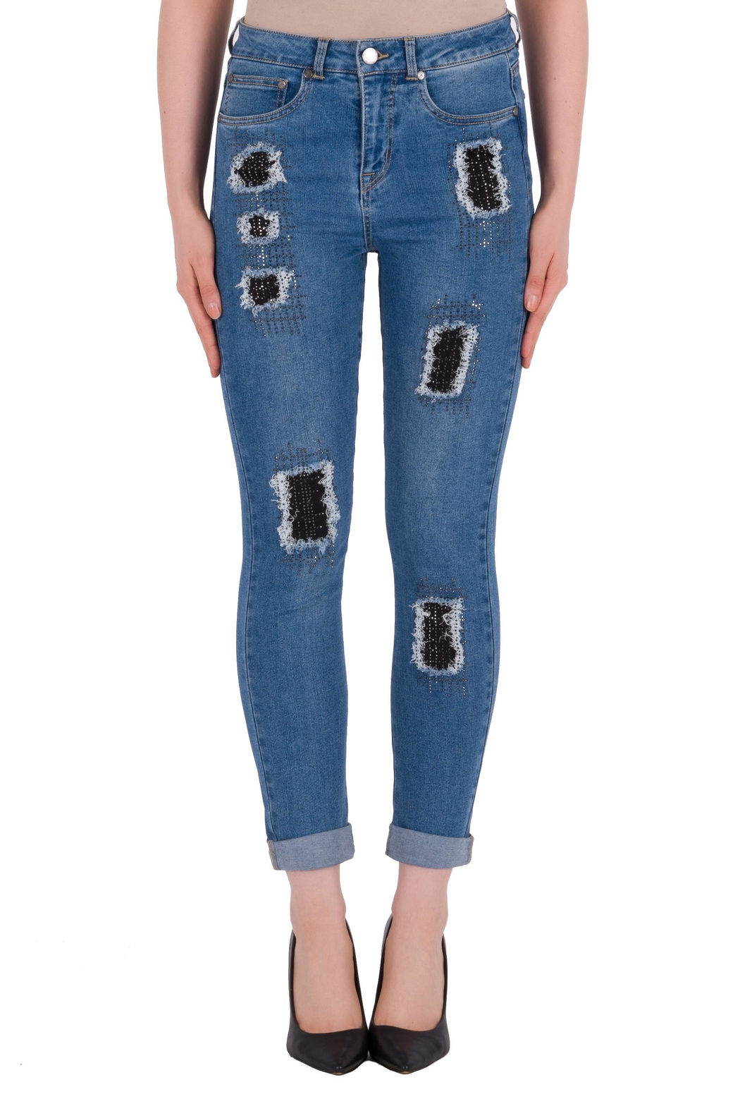 Joseph Ribkoff Rip Accent Jeans - Front Cropped Image