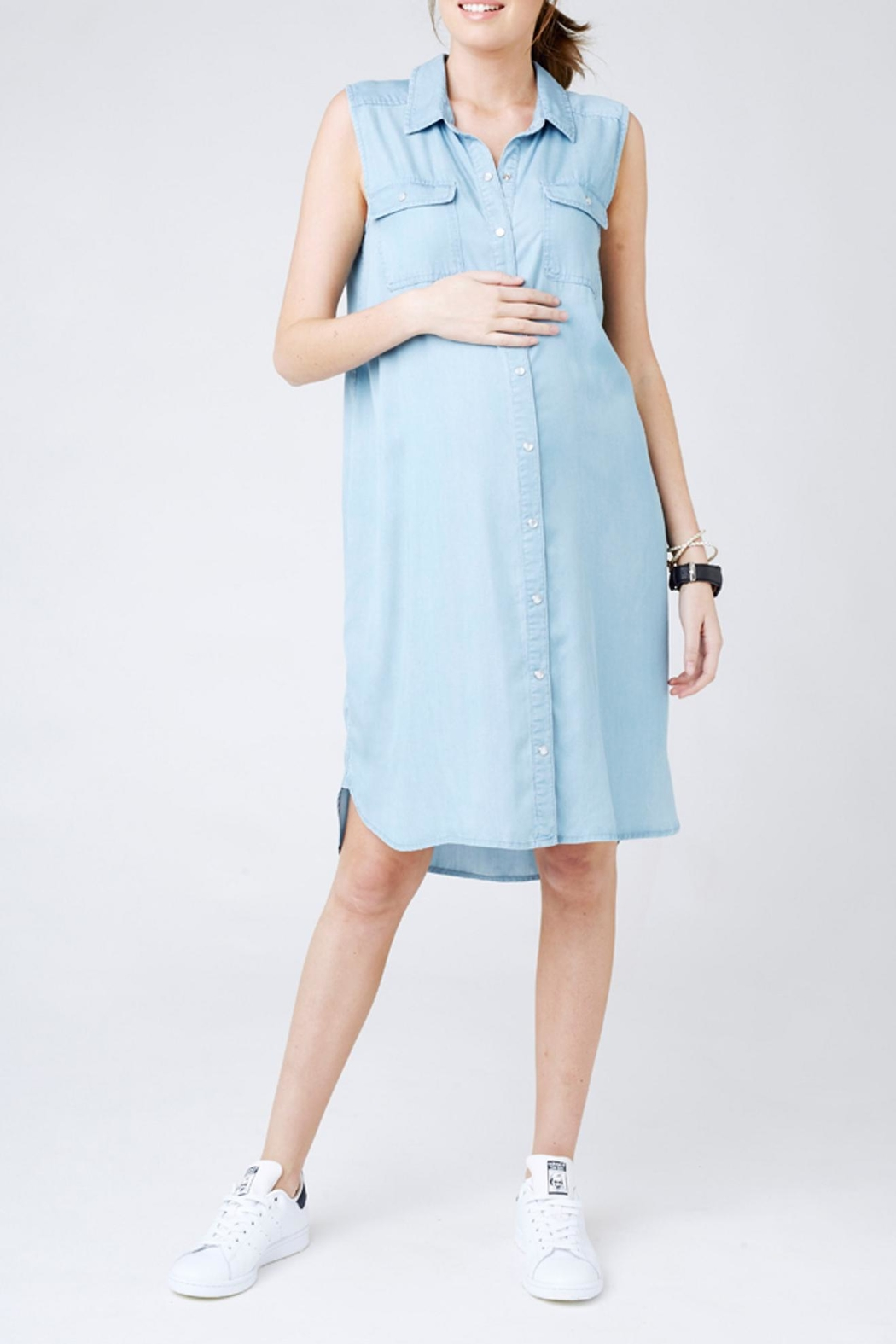 Ripe Maternity Weekend Shirt Dress - Front Cropped Image