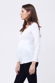 Ripe Maternity White Embrace Top - Front full body
