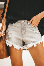 Peach Love California Ripped Detail Denim Cutoffs - Product Mini Image