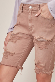 Mustard Seed  Ripped Distressed Shorts - Back cropped