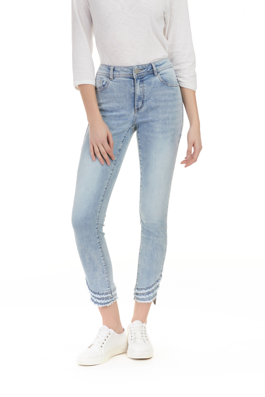 Charlie B Ripped Hem Jeans - Front Cropped Image