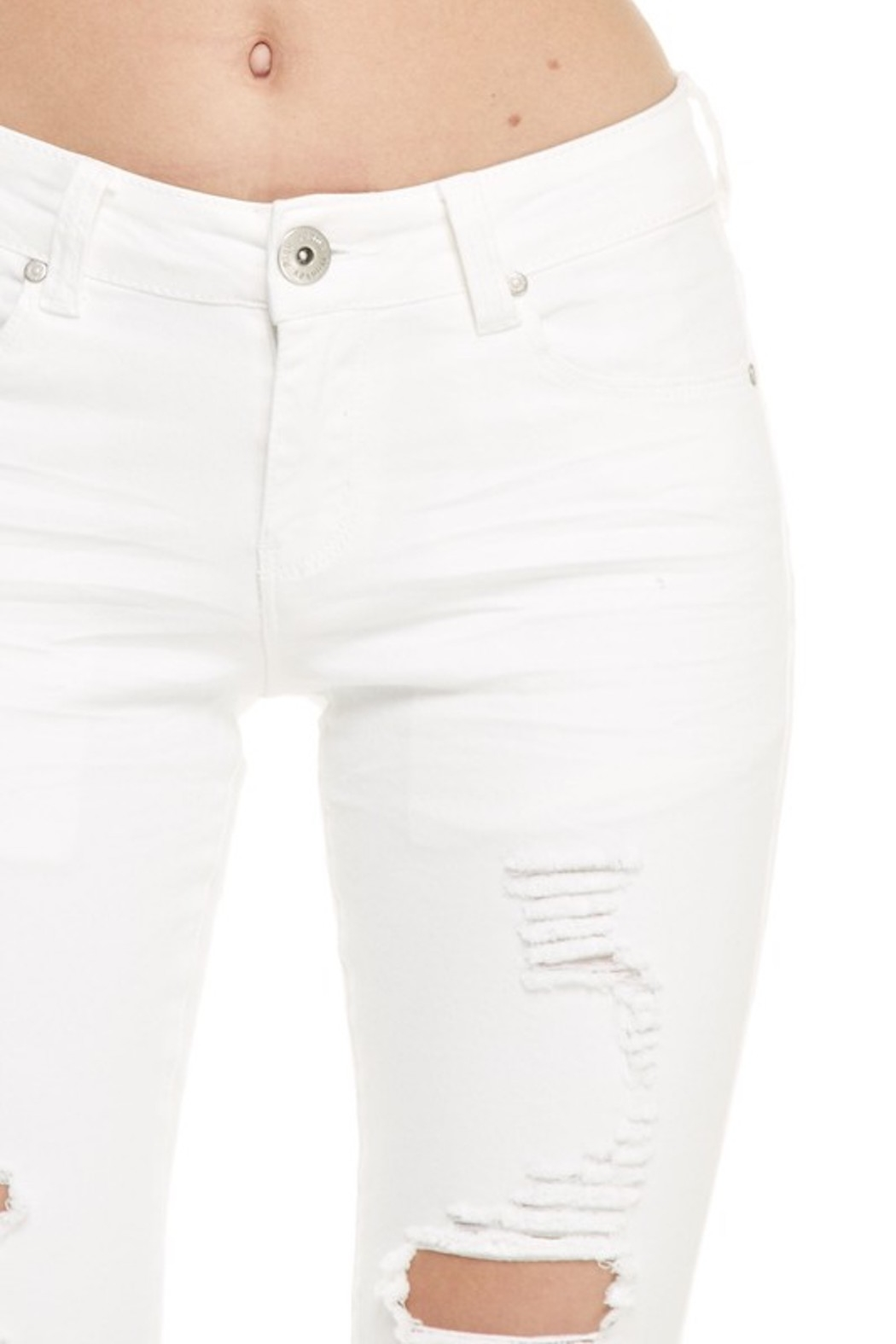 Monkey Ride Jeans Ripped Skinny Jeans - Back Cropped Image