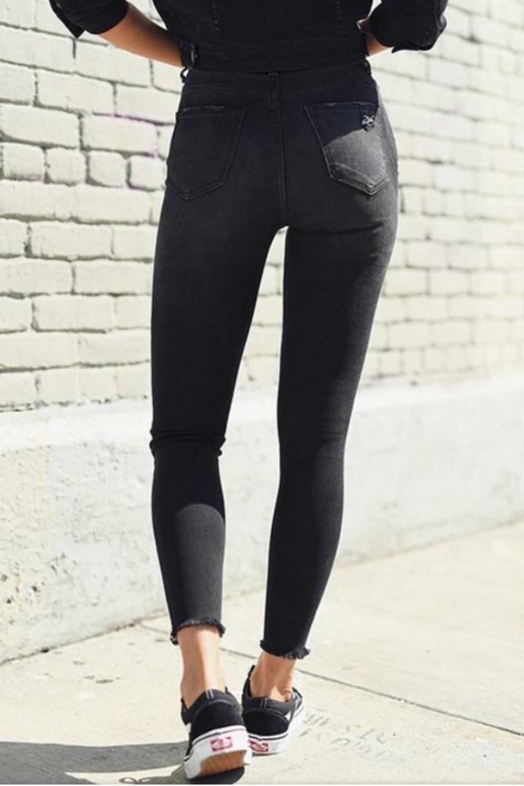 Rise Black Distressed Jeans - Back Cropped Image