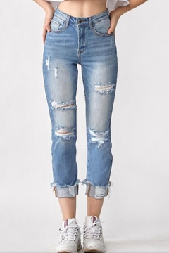 Risen  Distressed Cuff Jeans - Product List Image