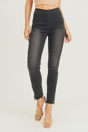 Risen  Elastic Waistband Frayed Hem Skinny Jeggings - Product Mini Image