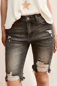 Shoptiques Product: High Rise Distressed Bermuda Shorts