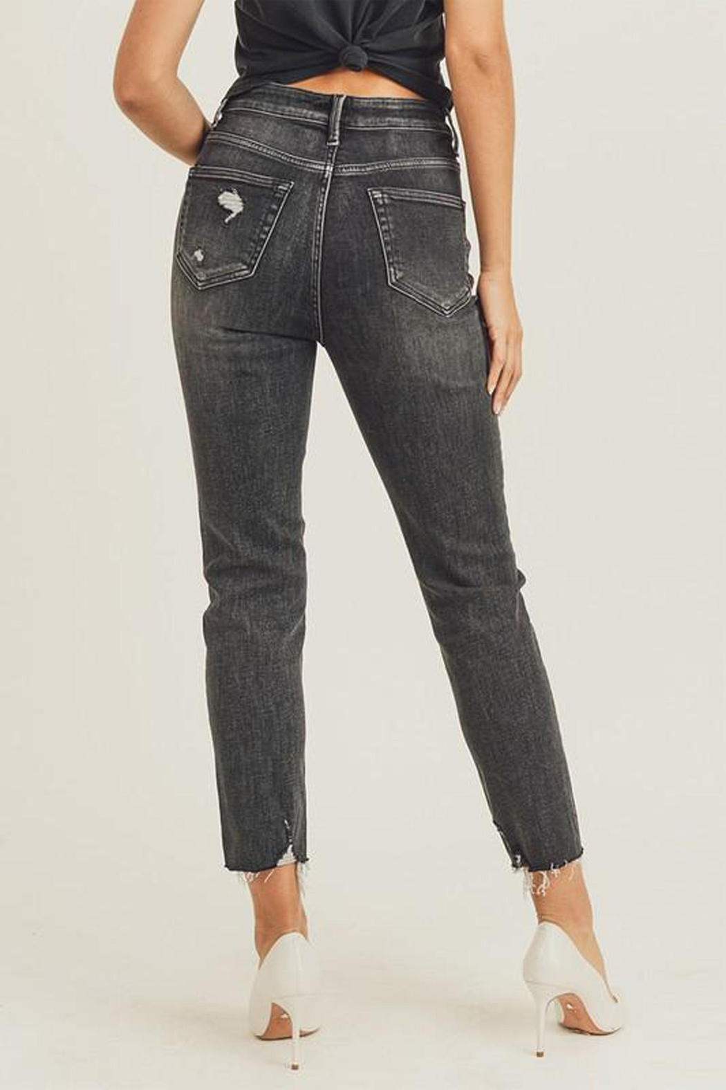 Risen Jeans  Black-Vintage-Wash Distressed Denim - Back Cropped Image