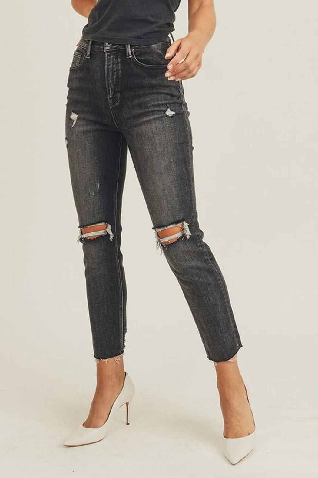 Risen Jeans  Black-Vintage-Wash Distressed Denim - Side Cropped Image