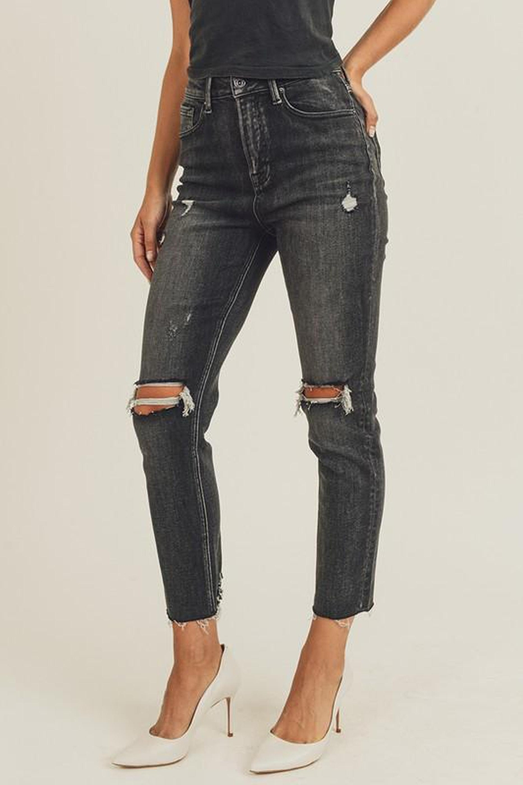 Risen Jeans  Black-Vintage-Wash Distressed Denim - Front Full Image