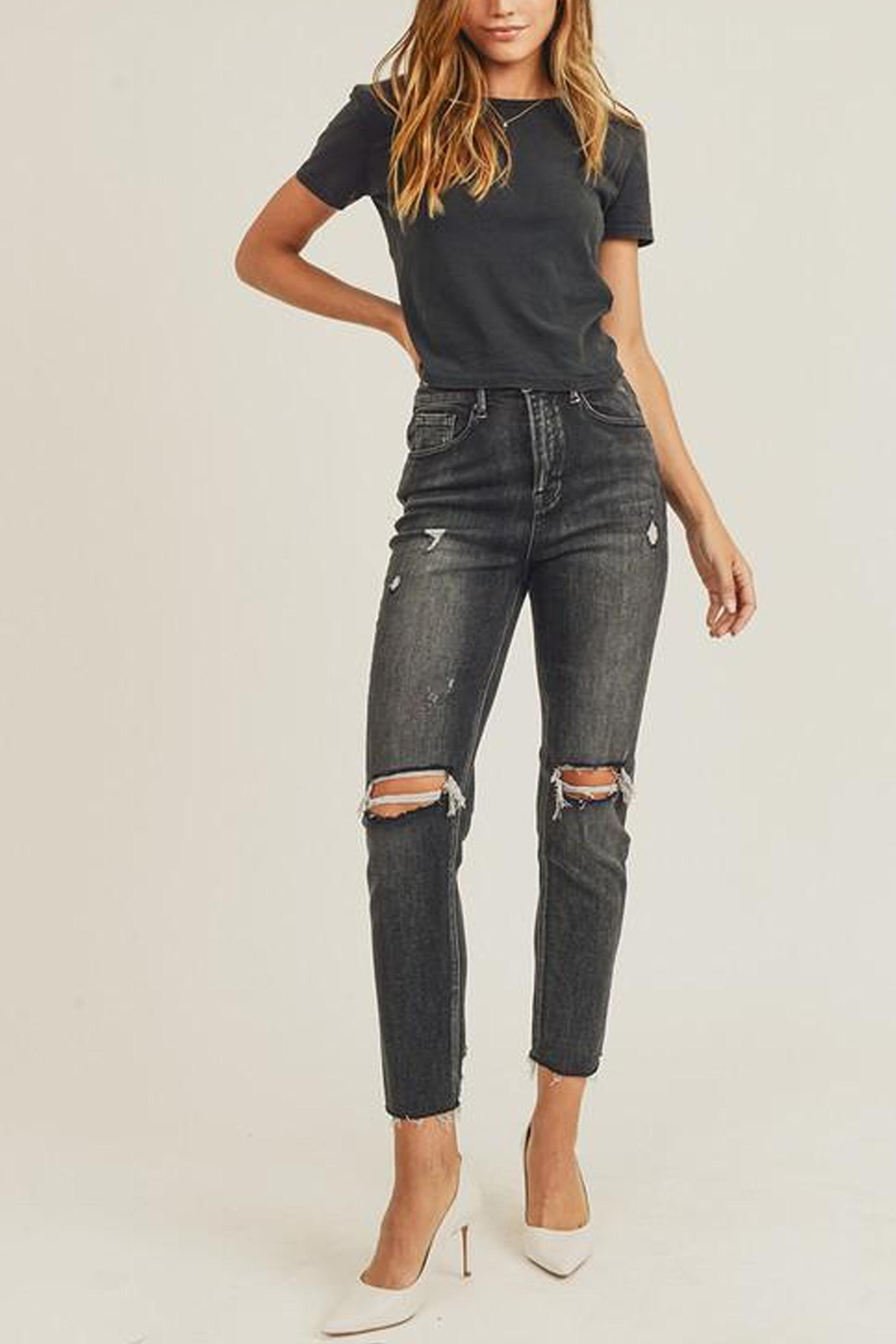 Risen Jeans  Black-Vintage-Wash Distressed Denim - Main Image