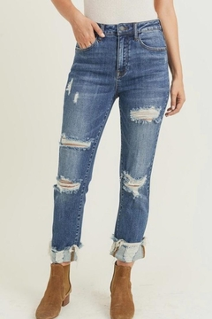 Risen Jeans  Cuff Distressed Jeans - Product List Image