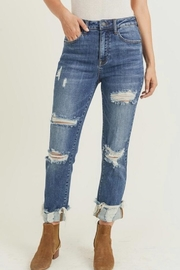 Risen Jeans  Cuff Distressed Jeans - Product Mini Image