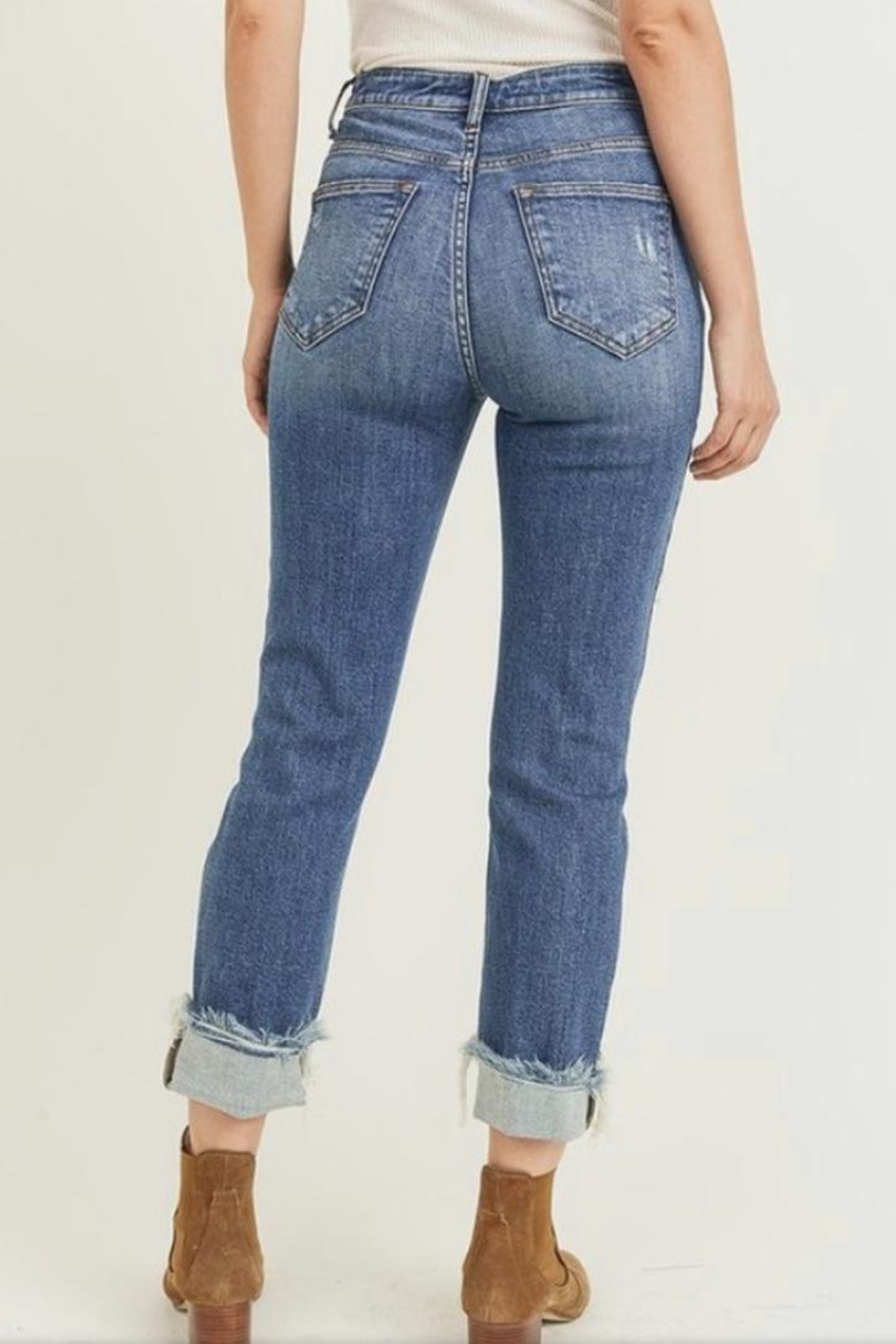 Risen Jeans  Cuff Distressed Jeans - Side Cropped Image