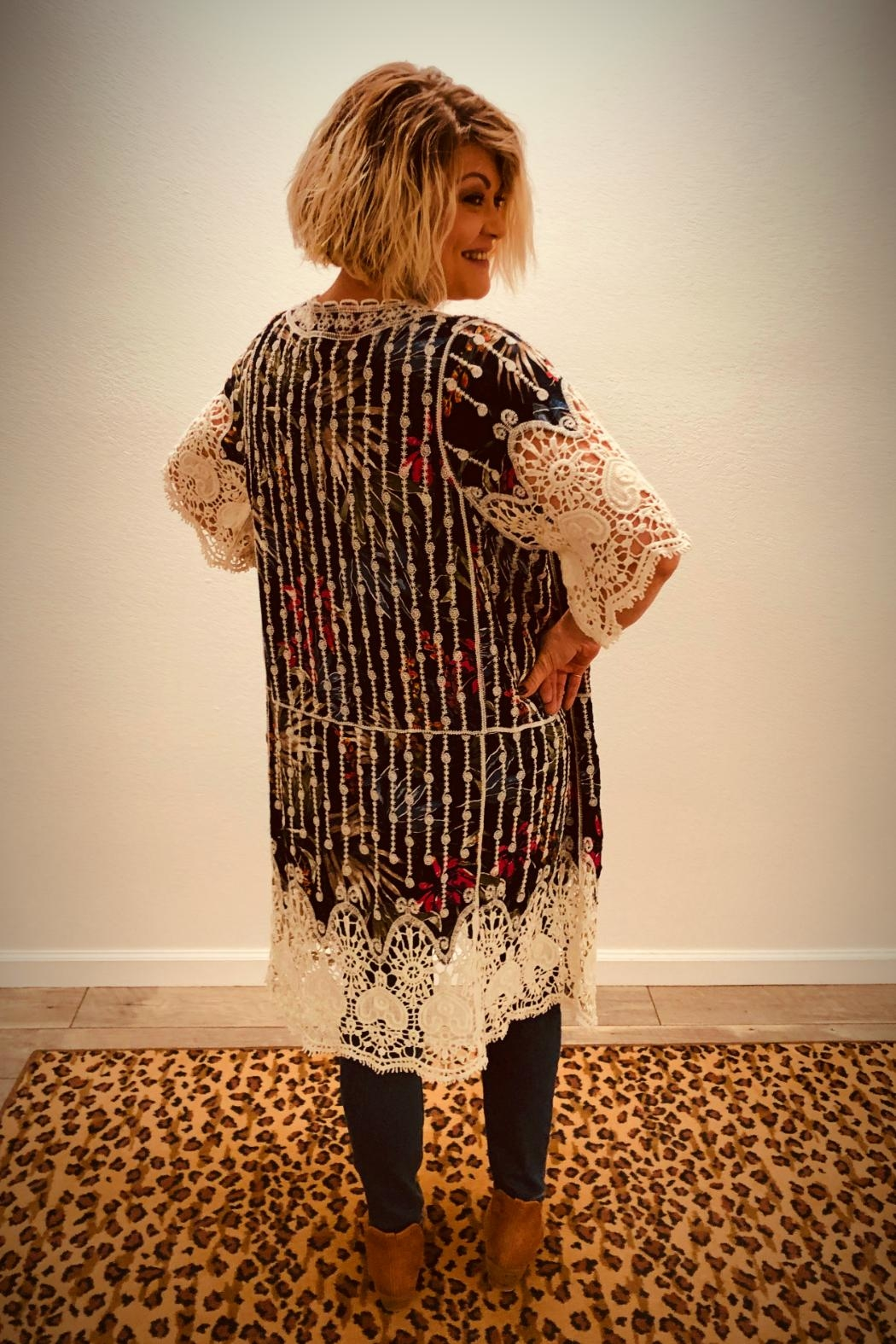 Rising International Floral-Lace Kimono - Front Full Image