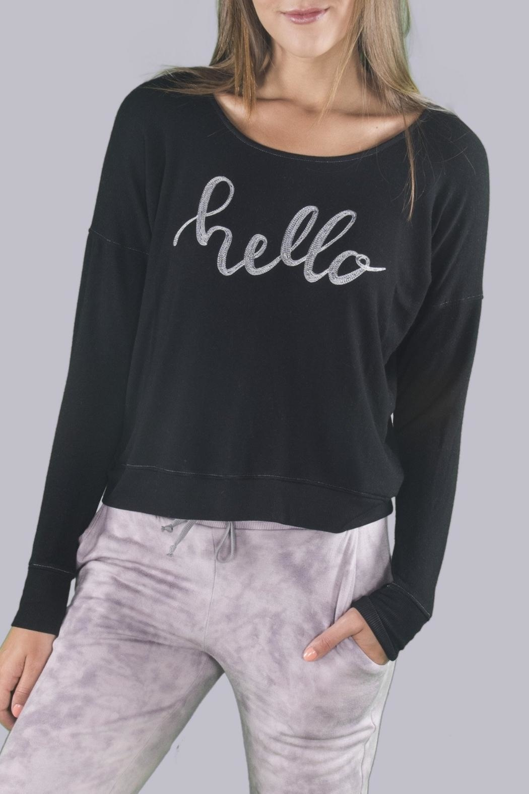 River + Sky  Hello Sweatshirt - Front Cropped Image