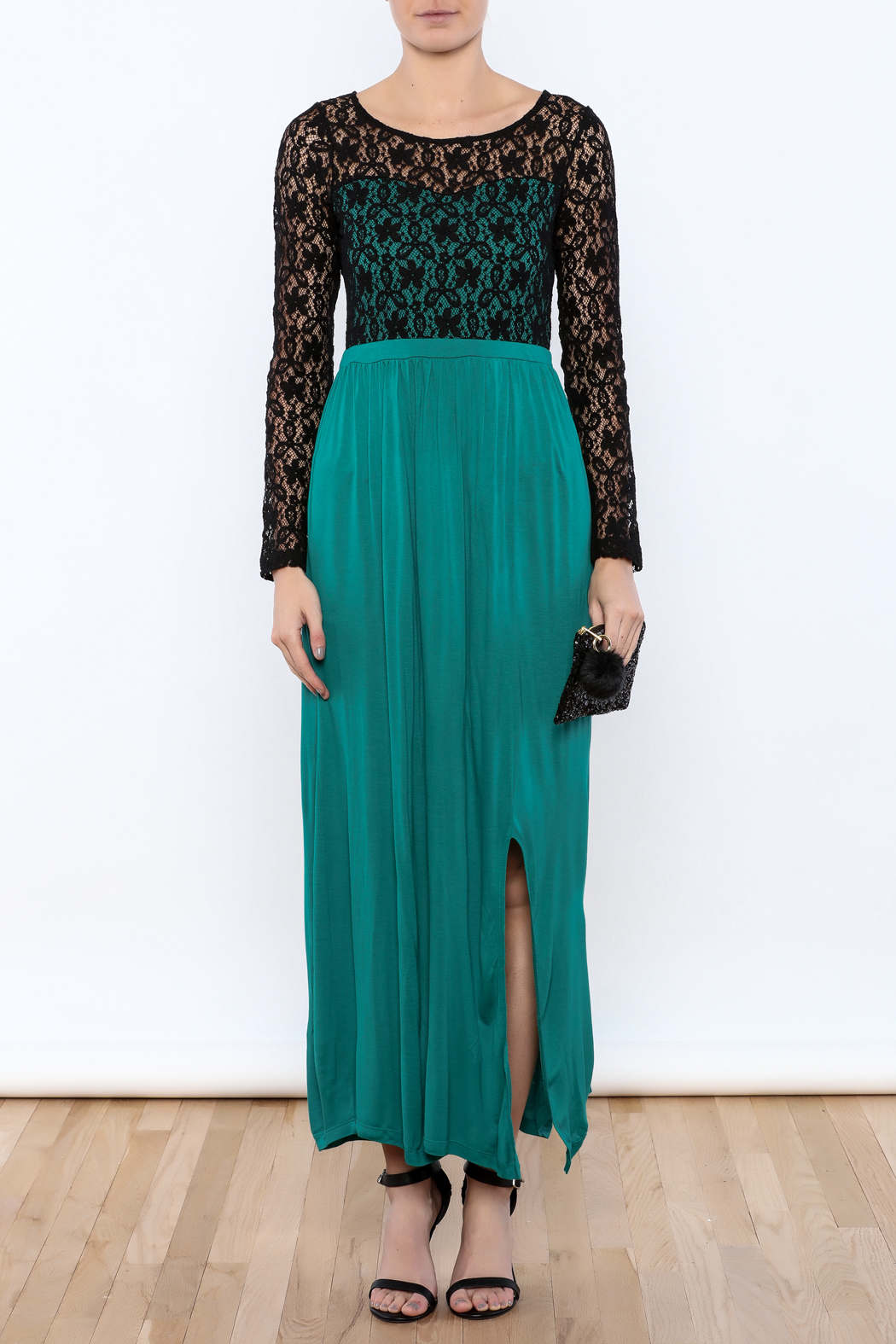 rk7brand Lace Split Maxi - Front Cropped Image