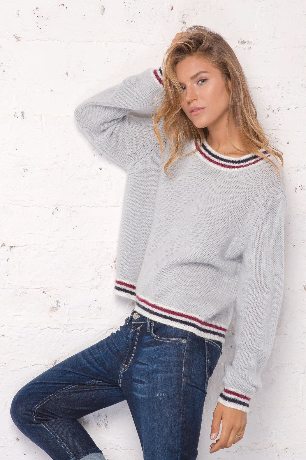 Wooden Ships Robbie Striped Sweater - Side Cropped Image