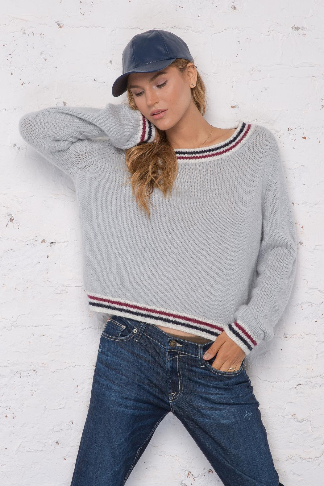 Wooden Ships Robbie Striped Sweater - Back Cropped Image
