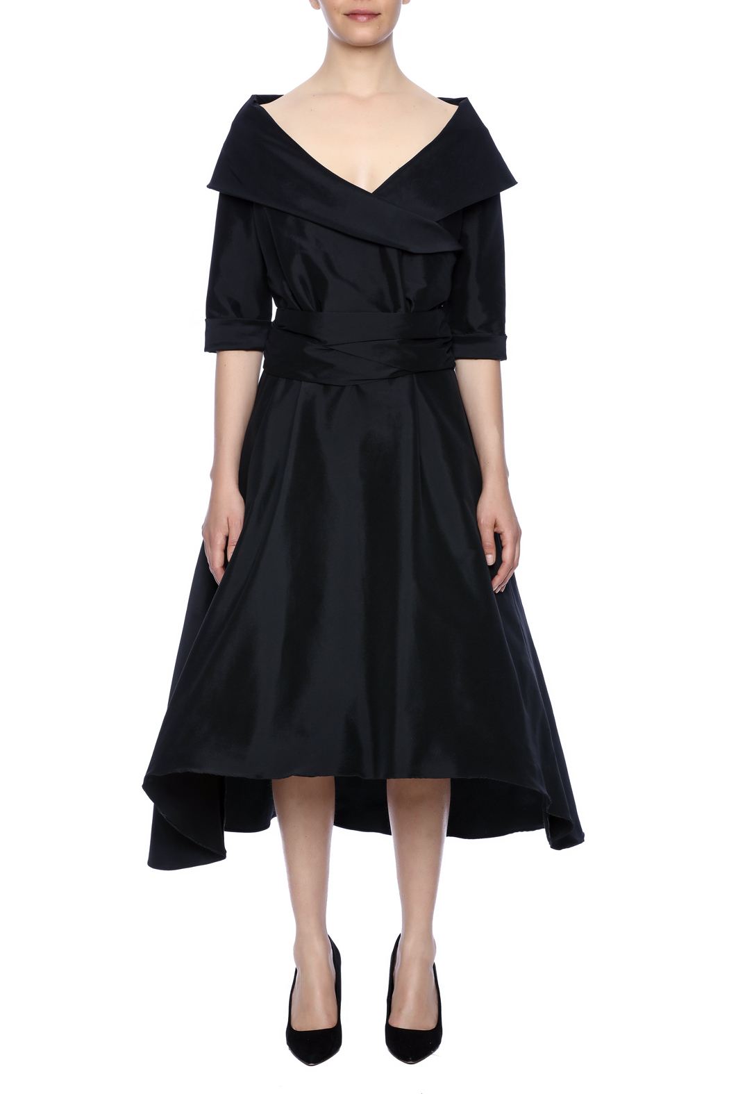 Robert Greco Couture Taffeta Portrait Collar Dress - Front Cropped Image