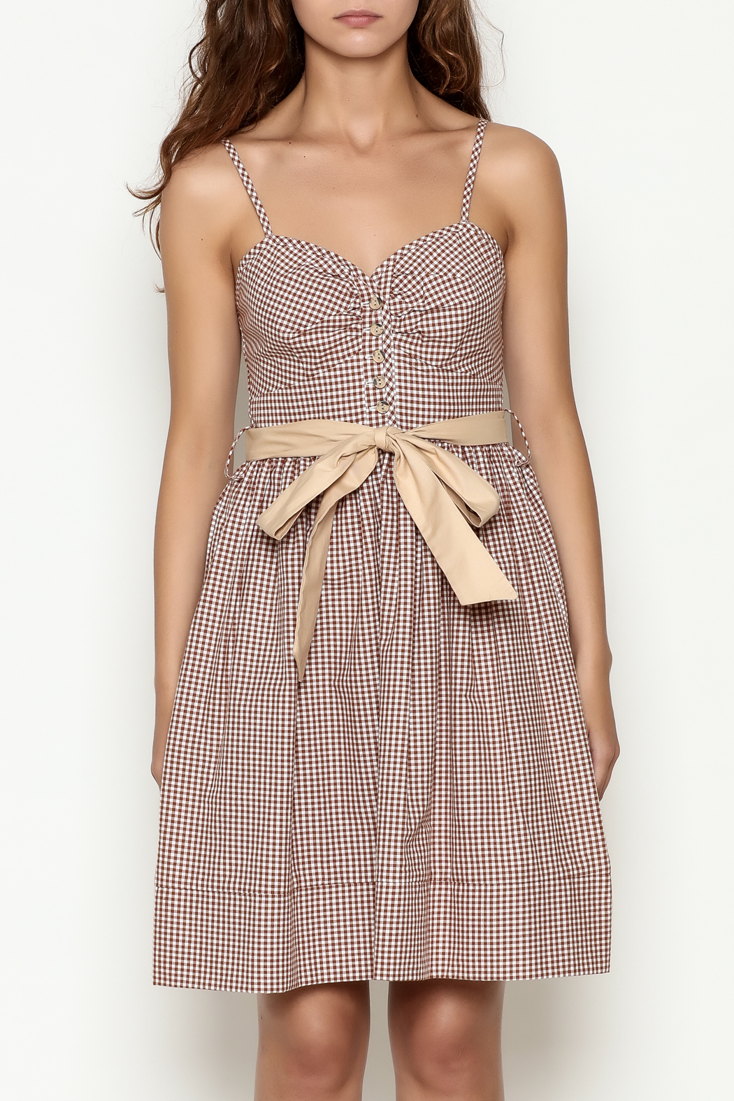 Roberta Oaks Gingham Print Dress - Front Full Image
