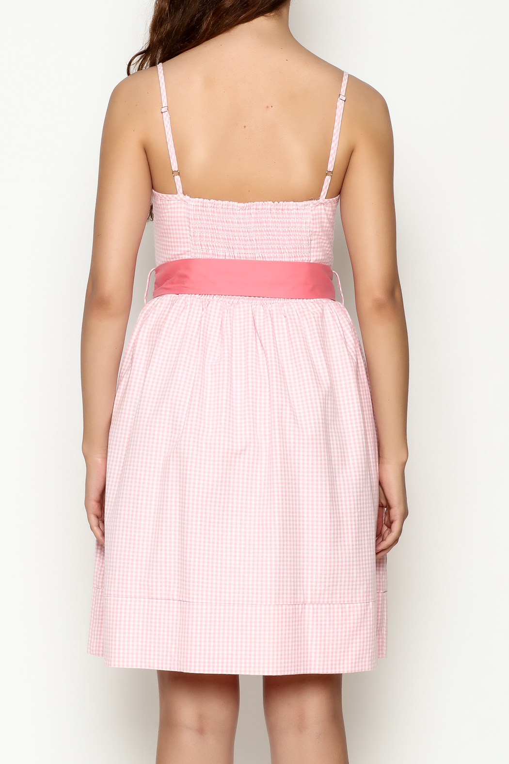 Roberta Oaks Gingham Print Dress - Back Cropped Image