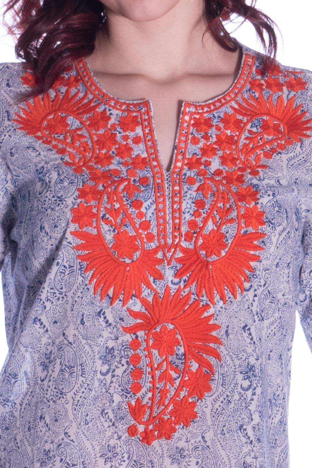 Roberta Roller Rabbit Paisley Embroidered Tunic - Front Full Image