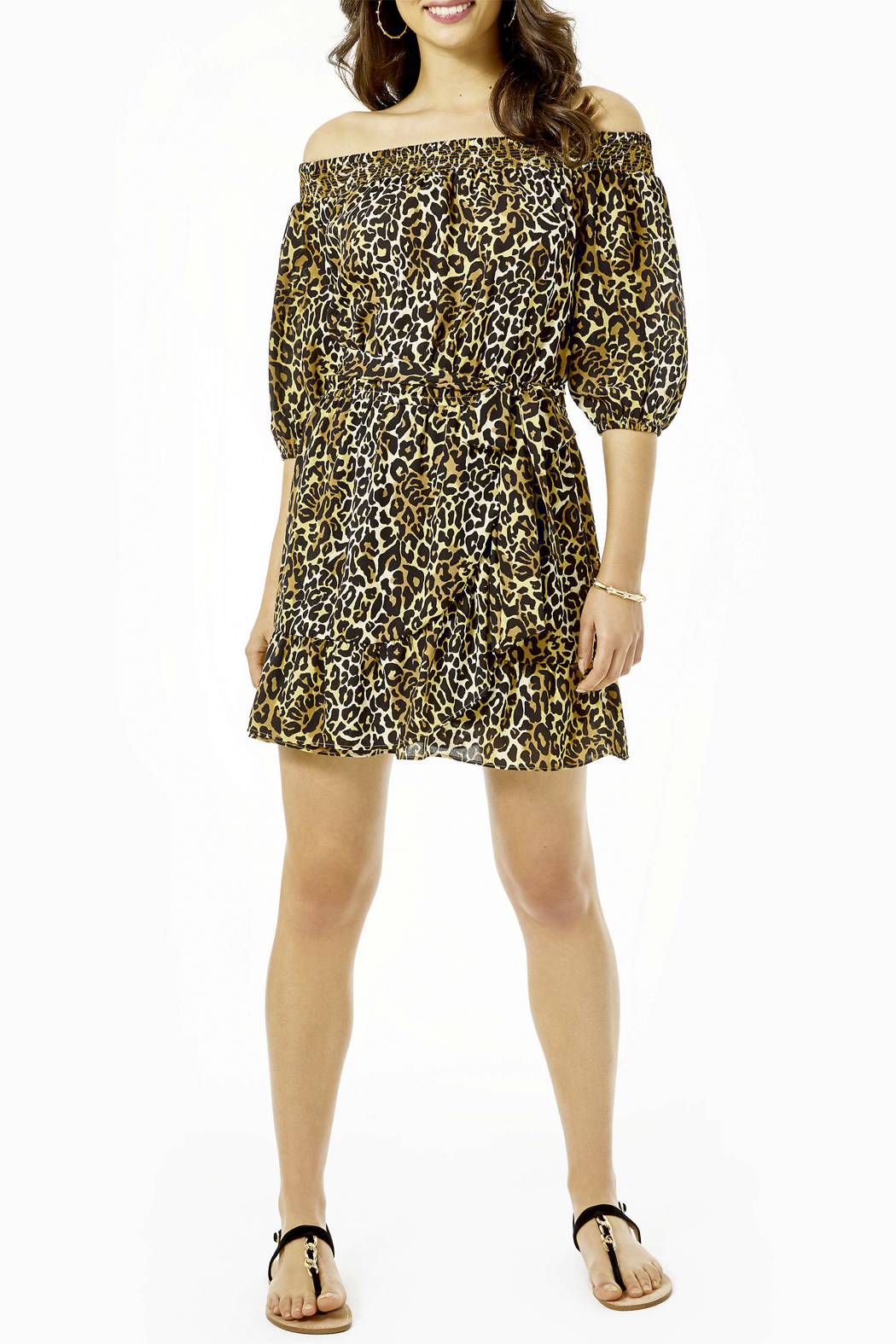 Lilly Pulitzer  Rochelle Off-The-Shoulder Romper - Back Cropped Image