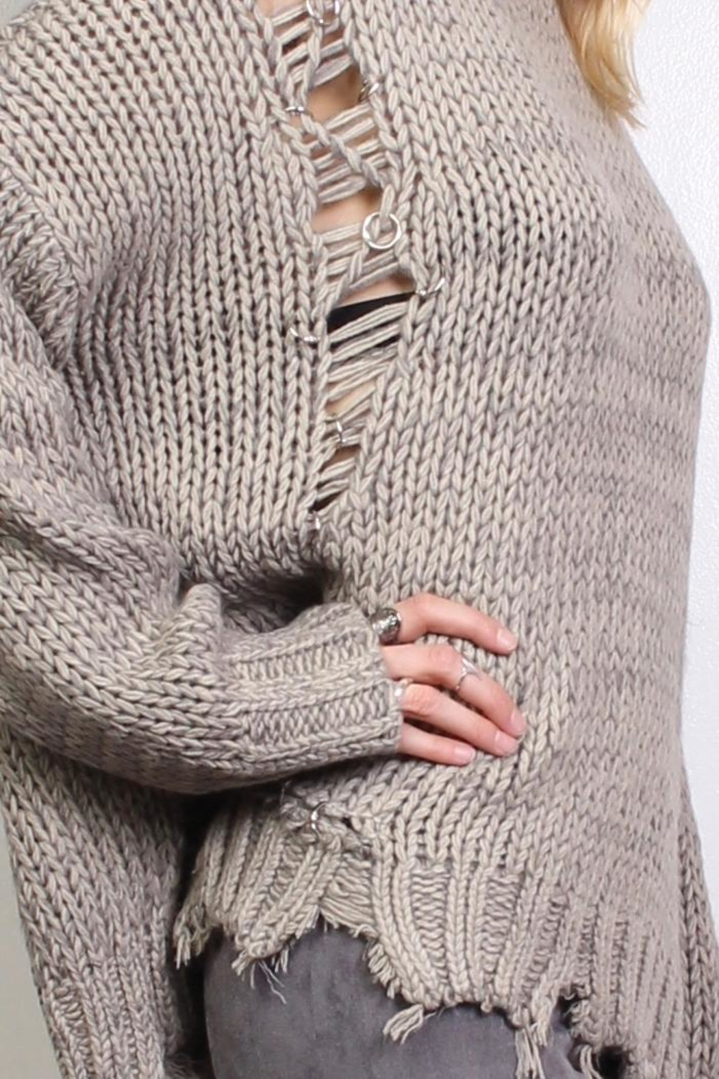 Rock Etiquette Bohemian Ring Sweater - Back Cropped Image