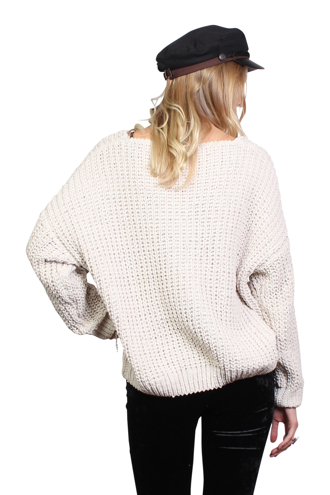 Rock Etiquette Cream Knit Sweater - Side Cropped Image