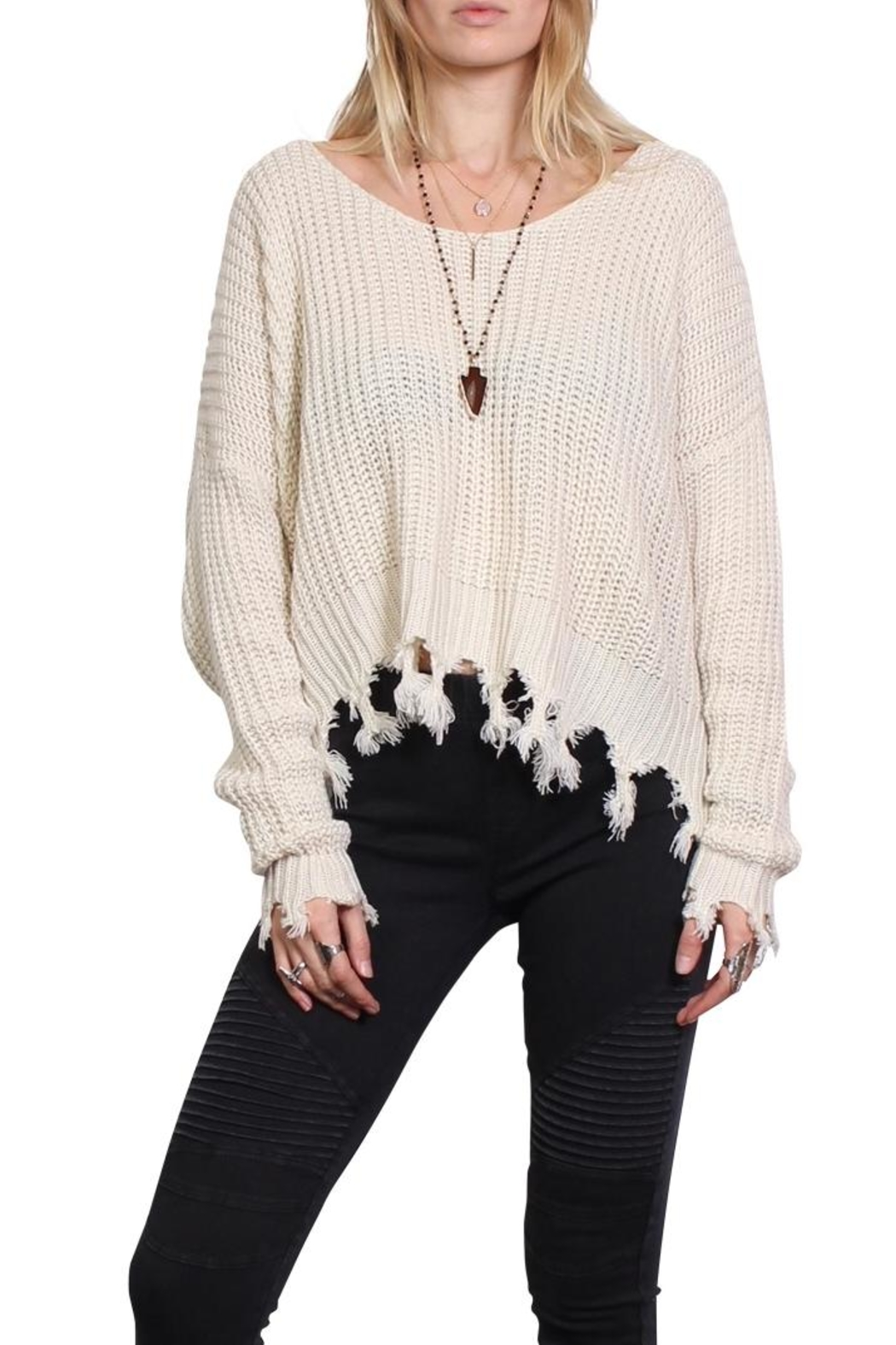 Rock Etiquette Cream Tassel Sweater - Front Cropped Image