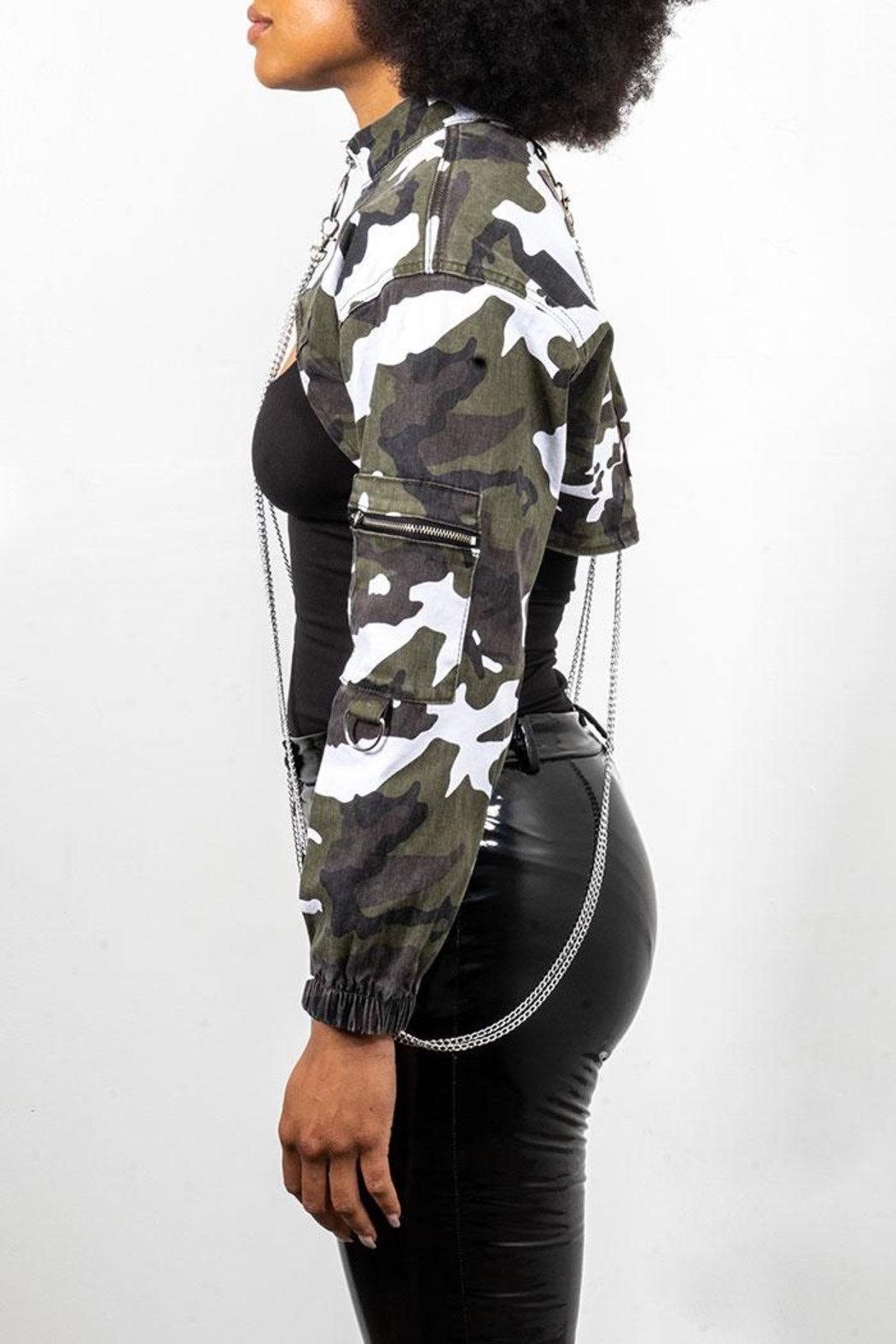 Rock Etiquette Cropped Army Chain Jacket - Front Full Image