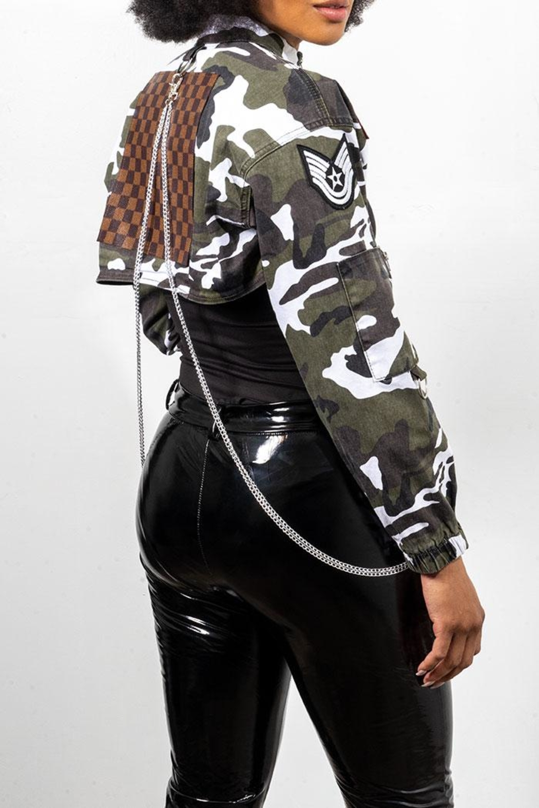 Rock Etiquette Cropped Army Chain Jacket - Side Cropped Image