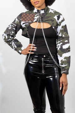Rock Etiquette Cropped Army Chain Jacket - Product List Image