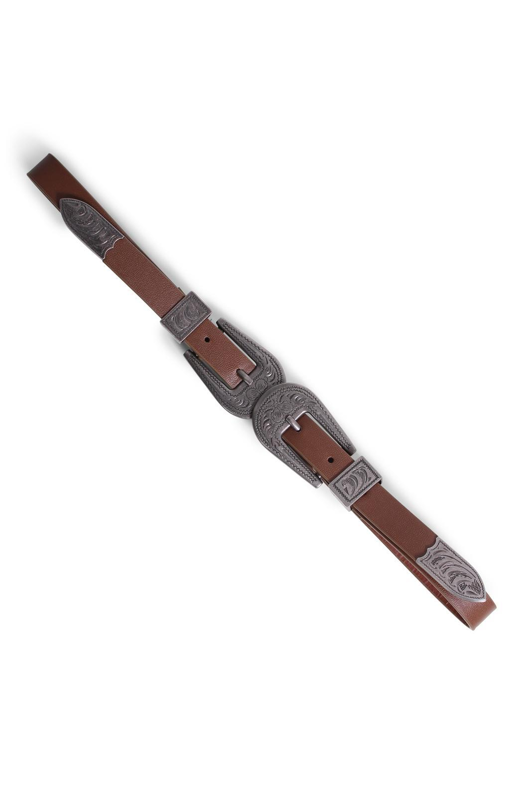 Rock Etiquette Double Buckle Belt - Front Full Image