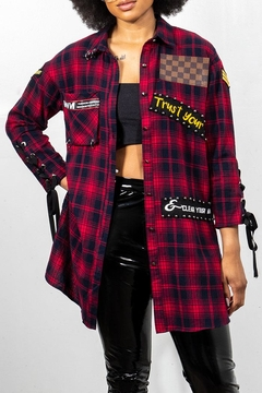 Rock Etiquette Red Plaid Tunnic Top - Alternate List Image