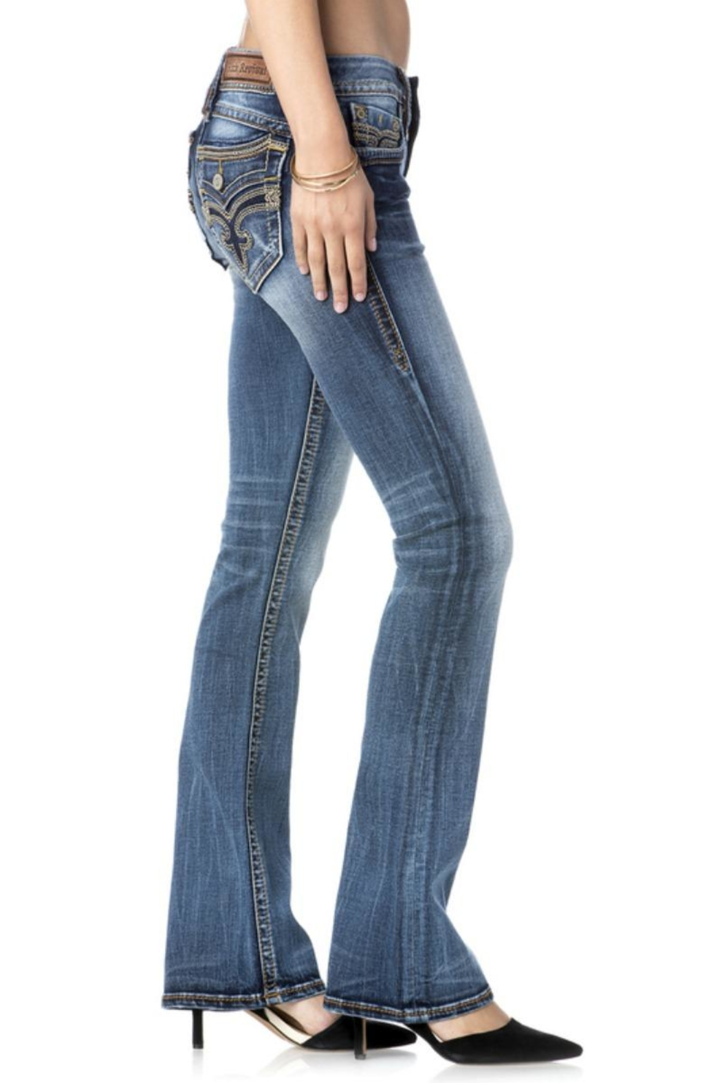 Rock Revival Orange Stitched Bootcut Jeans - Side Cropped Image