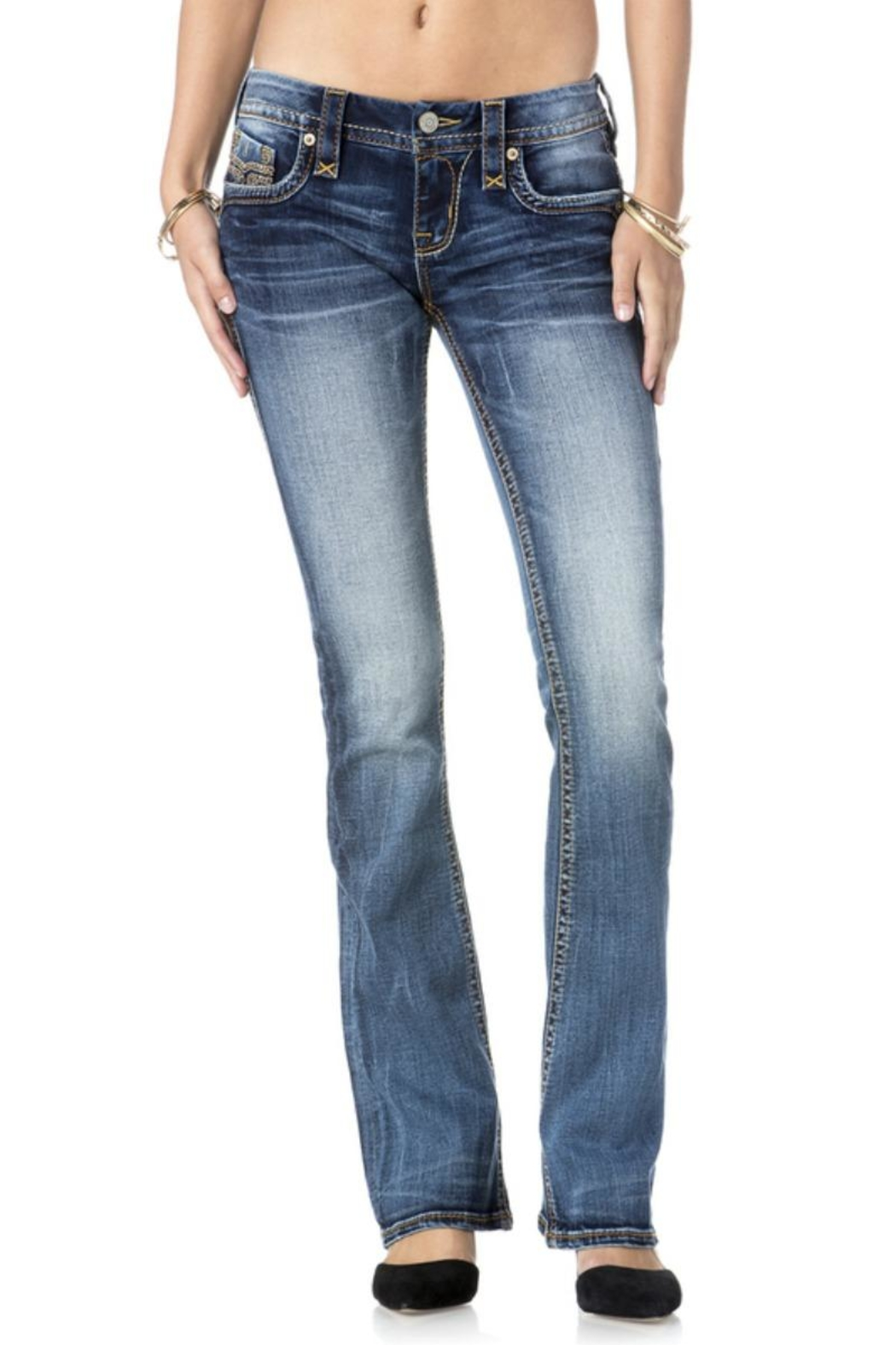 Rock Revival Orange Stitched Bootcut Jeans - Front Full Image