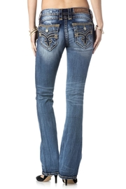 Rock Revival Orange Stitched Bootcut Jeans - Product Mini Image