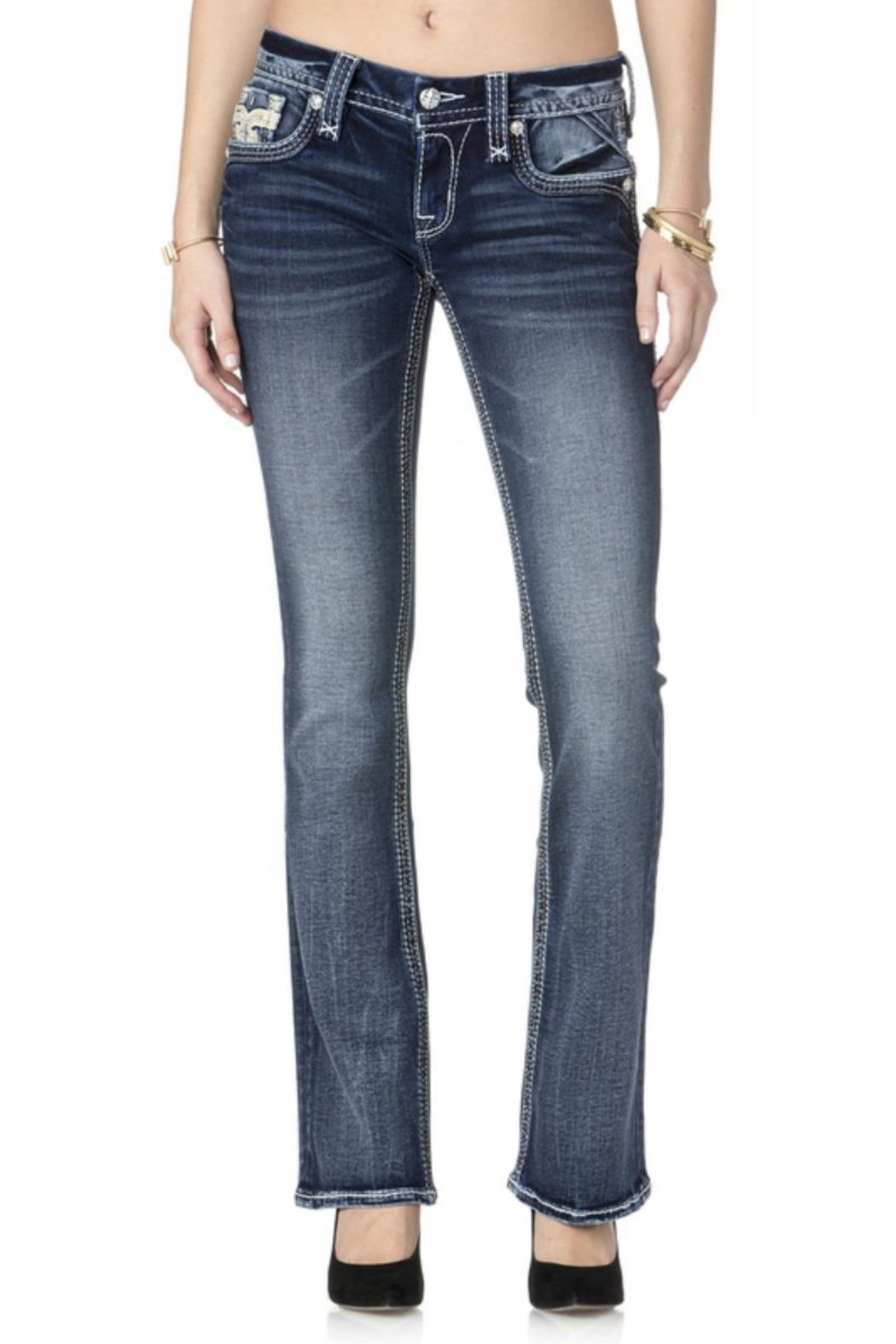 Rock Revival Reversed Bootcut Jeans - Side Cropped Image