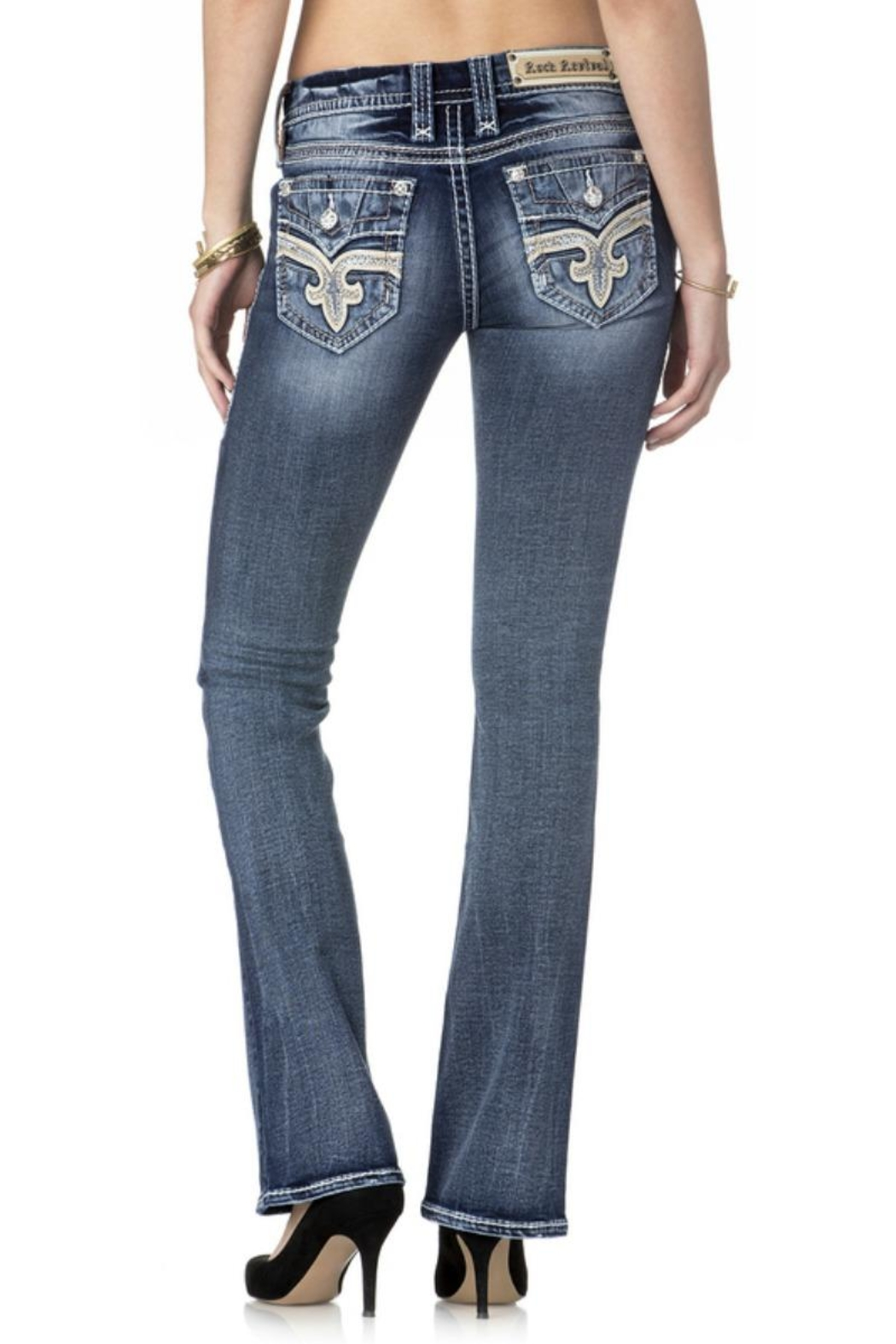 Rock Revival Reversed Bootcut Jeans - Front Cropped Image