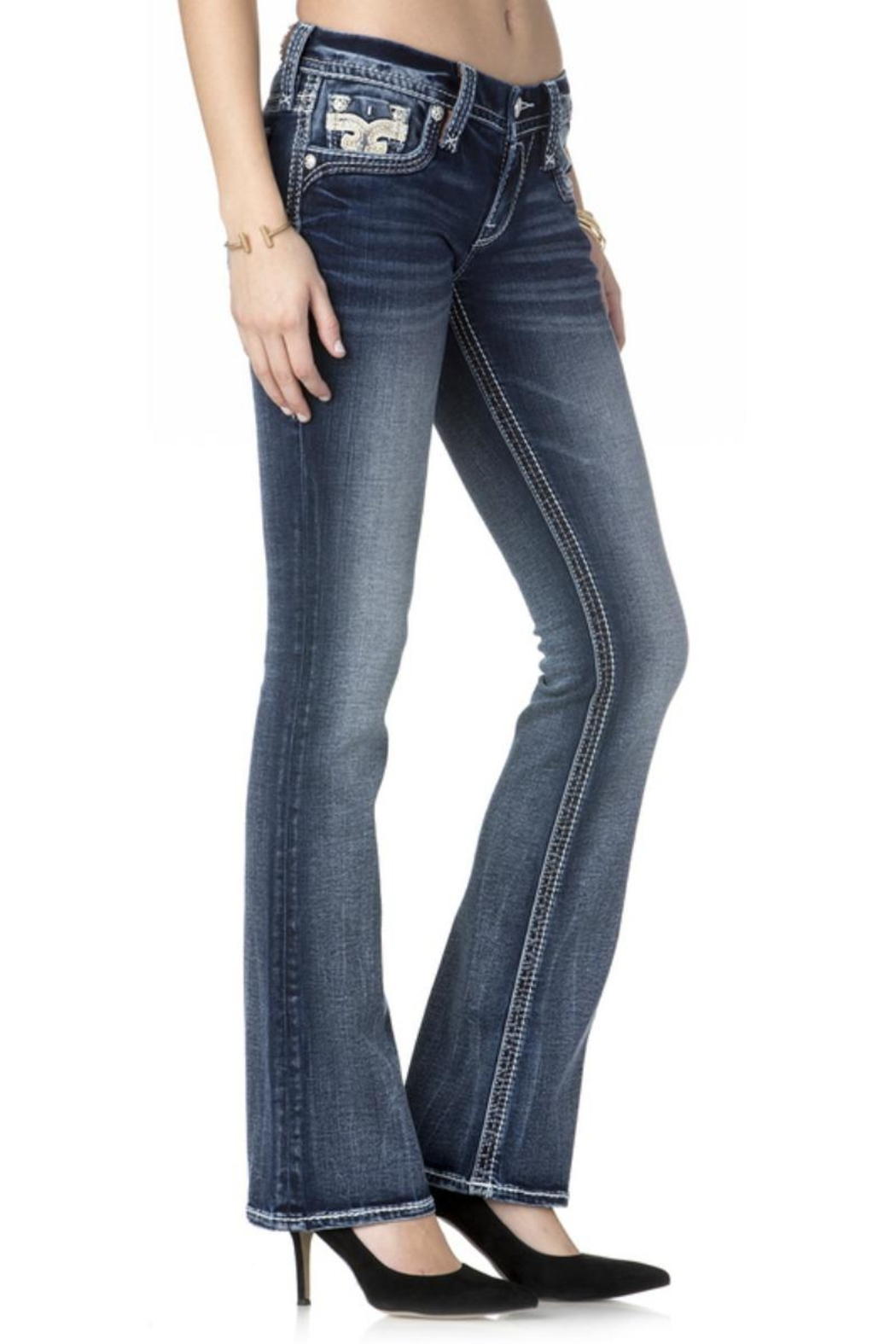 Rock Revival Reversed Bootcut Jeans - Front Full Image