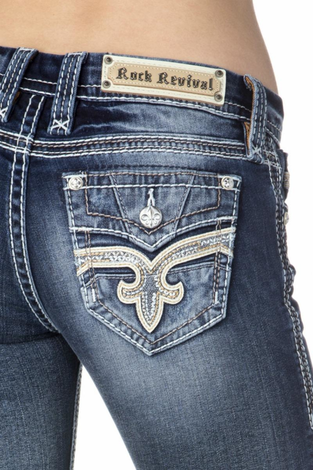 Rock Revival Reversed Bootcut Jeans - Back Cropped Image