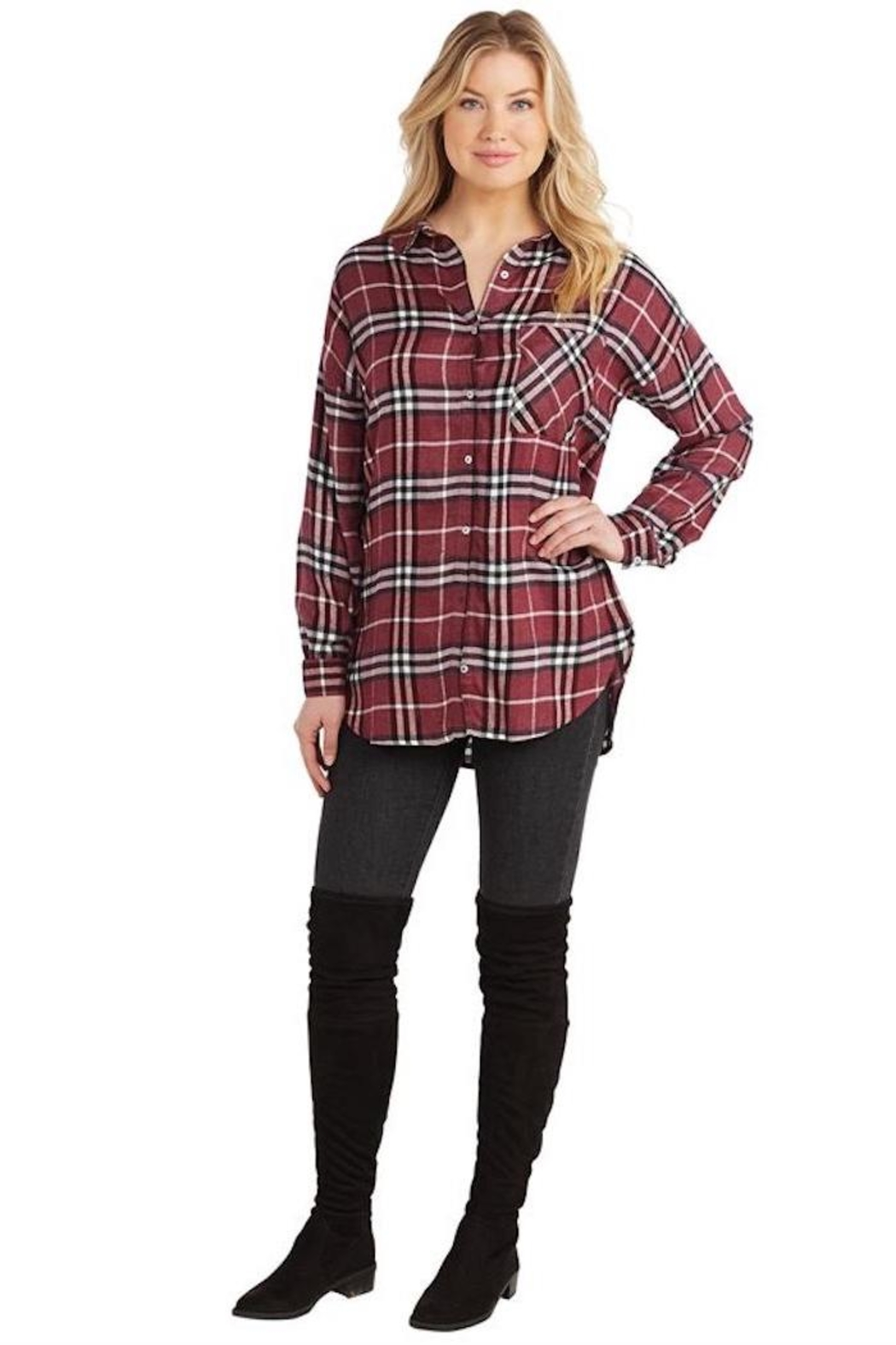 Mud Pie Rocky Flannel Button-Down - Front Full Image